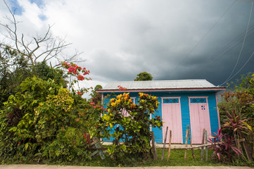 poor woden cabins at Dominican Republic, island Hispanola wich