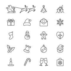 Christmas thin icons