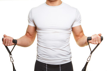 Male body in white shirt