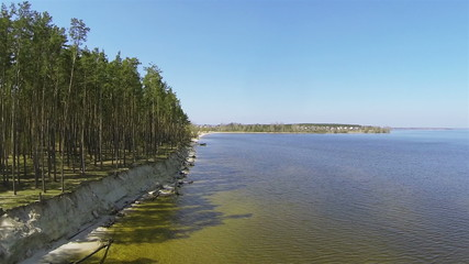 Sandy coast of lake with trees . Aerial shot  in sunny day