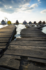 chalets, cottages on the shore of a lake