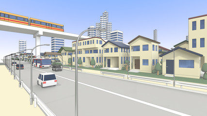 住宅街と新交通システムと車道