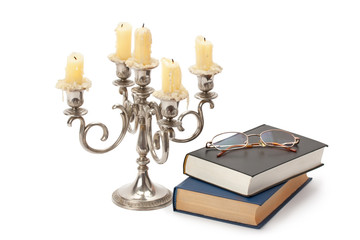vintage candlestick books and glasses