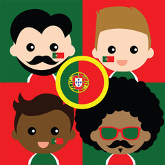 Group of happy Portugal's supporters