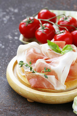 parma ham (jamon) with fragrant herbs