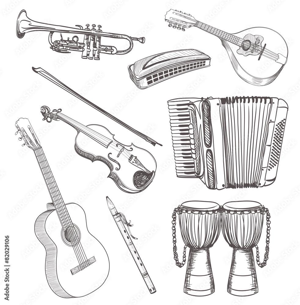 Plakat Ludowe Instrumenty Muzyczne Rysunek Zestaw Wally24pl