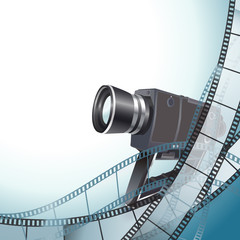 vintage video camera and filmstrip background