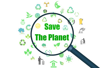 Save the planet with many green icons
