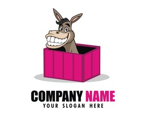 donkey truck pink logo image vector