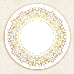 Vector ornate round border in Eastern style.