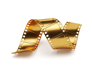 Golden film strip isolated on white background. Entertainment co