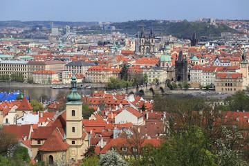 View on the spring Prague City, Czech Republic