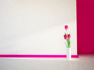 pink tulips on the white floor