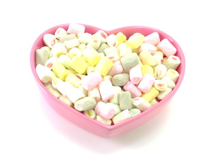 lots of little marshmallows on white background