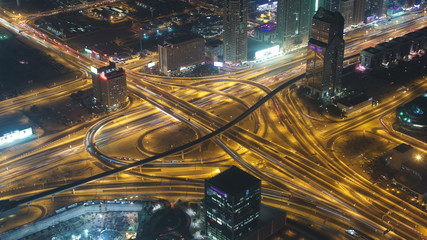 Aerial view of highway junction in Dubai, UAE. View from the