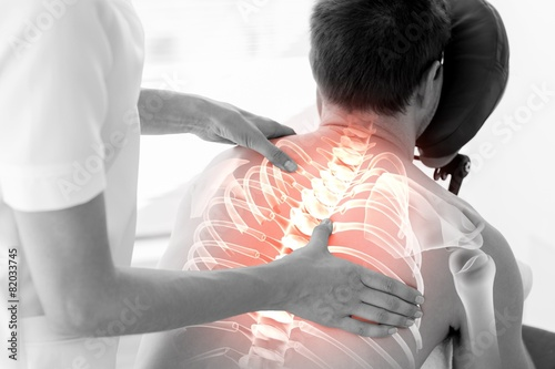 Highlighted spine of man at physiotherapy - 82033745
