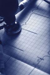 ECG diagnostics concept in monochrome