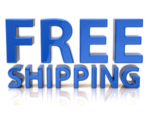 3d illustration of blue free shipping icon