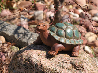 Stone turtle statue in a garden