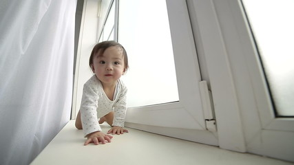 adorable asian baby  funny crawls