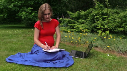 pregnant woman look at laptop computer and write on notebook