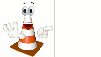 construction cone site wait inactive funny cartoon illustration