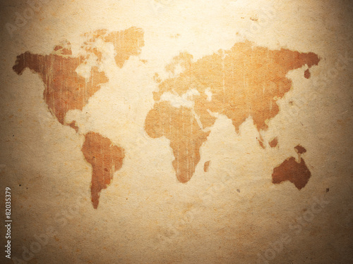 Fototapeta world map displayed on the corrugated old paper