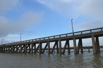 long pier into sea on Belgian coast