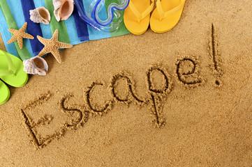 Escape beach writing