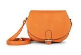 Fototapety stylish youth orange leather bag isolated on white background