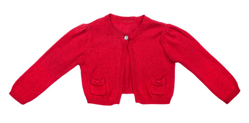 kids red sweater for girls isolated on white background