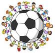 Leinwanddruck Bild - Kinder halten Hände um einen Fußball