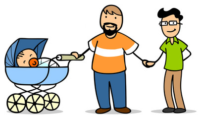 Homosexuelles Paar adoptiert Baby