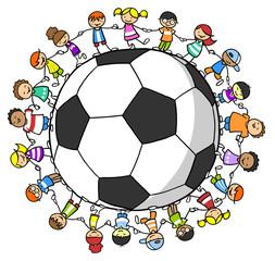 Kinder halten Hände um einen Fußball