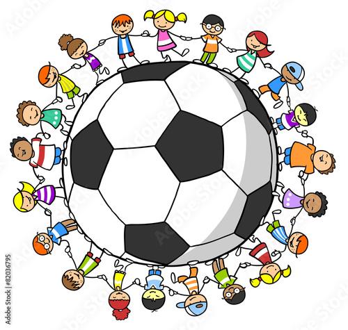 Leinwanddruck Bild Kinder halten Hände um einen Fußball