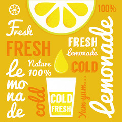 Lemon with glasses of lemonade or cocktail. Typography poster