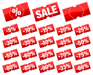 """Price Tags Set """"Sale"""" Minus Red Angled Divided"""
