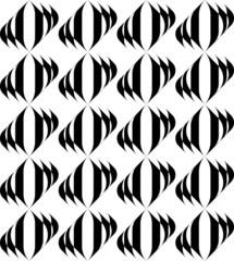 Black and white geometric seamless pattern with wavy stripe.