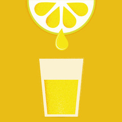 Lemon with glasses of lemonade or cocktail