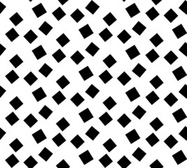 Black and white geometric seamless pattern with square.