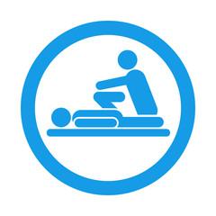 Icono redondo fisioterapeuta azul