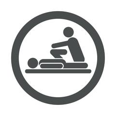 Icono redondo fisioterapeuta gris