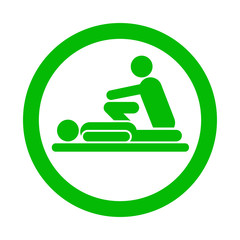 Icono redondo fisioterapeuta verde