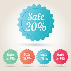 Vector sale 20% badge sticker