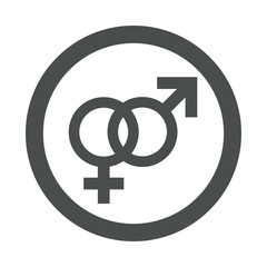 Icono redondo heterosexual gris