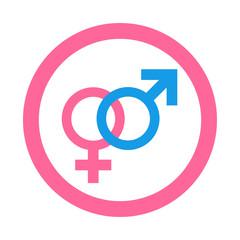 Icono redondo heterosexual rosa