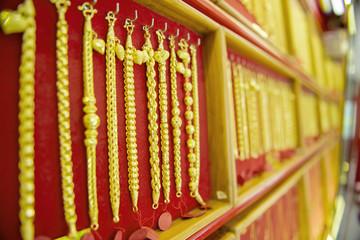 collection of golden bracelet.