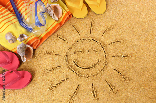 Beach background with smiling sun - 82037713