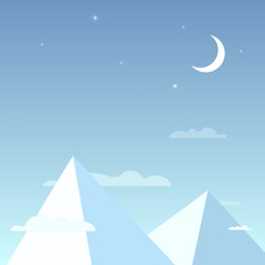 Mountains in the night sky in a simple light design. Mountain