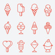 Ice cream set, thin line icons, flat design - 82038173